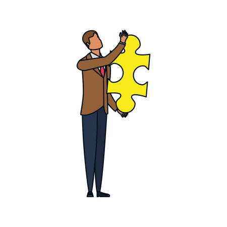 businessman with puzzle piece isolated icon vector illustration design Illustration