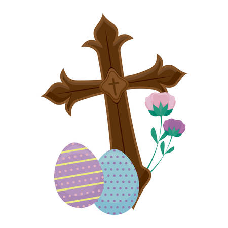 wooden catholic cross with eggs of easter vector illustration design