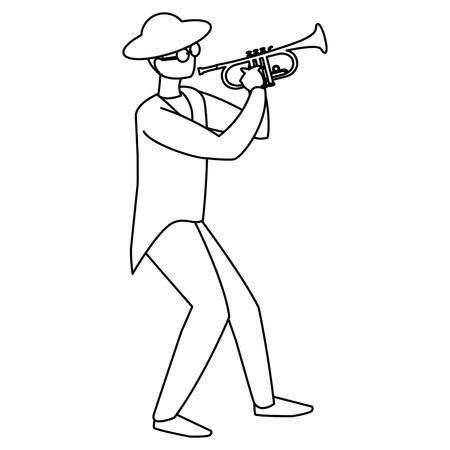 schwarzer Musiker Jazz mit Hut und Sonnenbrille spielt Trompete Vector Illustration Design Vektorgrafik