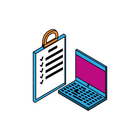laptop computer with document checklist vector illustration design