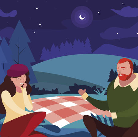young couple seated in the field picnic day vector illustration design