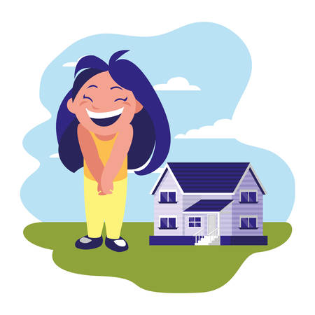 smiling girl standing near house vector illustration