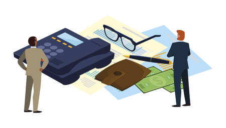 mini people with office set items vector illustration design