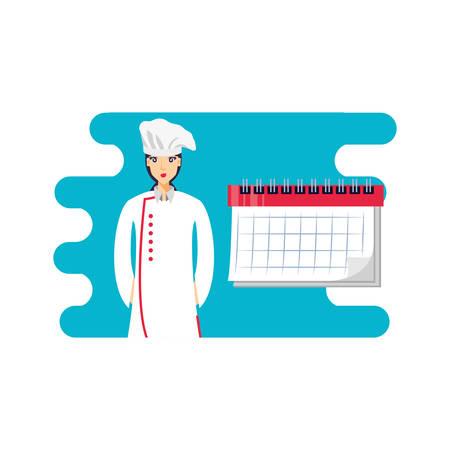 professional chef female with calendar reminder vector illustration design Illustration
