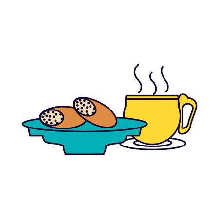 ramadan kareeem bread food and cup vector illustration design