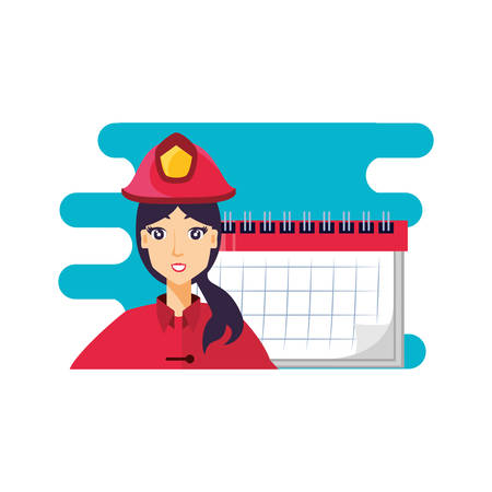 firefighter professional female with calendar character vector illustration design