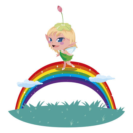 beautiful magic fairy in rainbow character vector illustration design