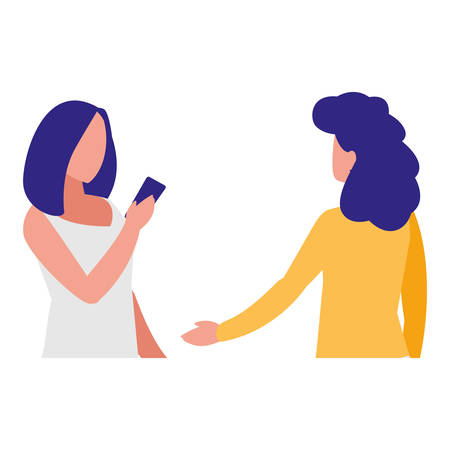 girls couple using smartphone vector illustration design