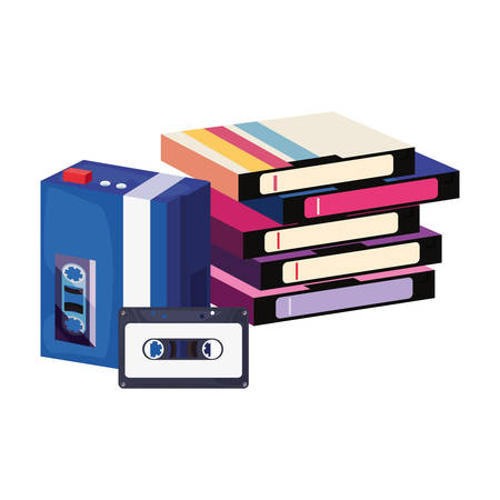 videotape beta music cassette walkman retro 80s style vector illustration