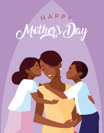happy mother day card with mom black and children vector illustration design