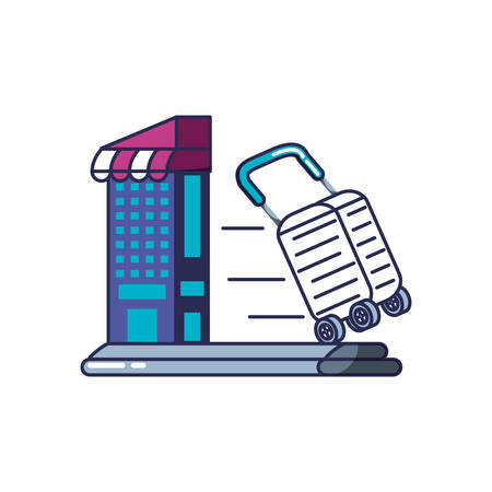 store building with cart shopping vector illustration design
