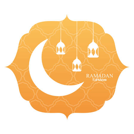 ramadan kareem moon traditional with lamps hanging in frame vector illustration design