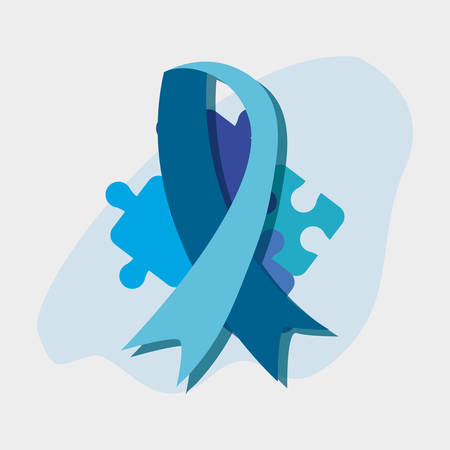 autism day campaign blue ribbon pieces puzzles vector illustration