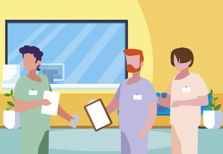 male medicine workers in clinic reception vector illustration design