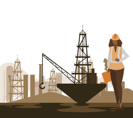 oil industry female worker character vector illustration design Ilustrace