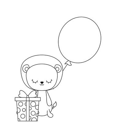 cute lion with gift box and balloon helium vector illustration design