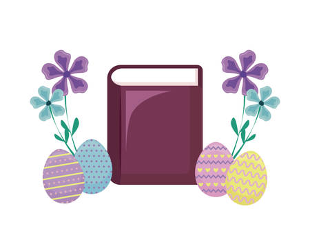 bible with eggs of easter and flowers vector illustration design Çizim