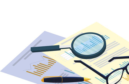 financial documents with office items vector illustration design