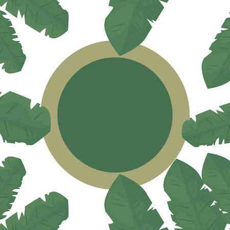 summer time badge foliage frame tropical leaves   vector illustration