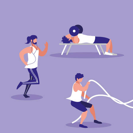 group of athletic men practicing sport vector illustration design Ilustrace