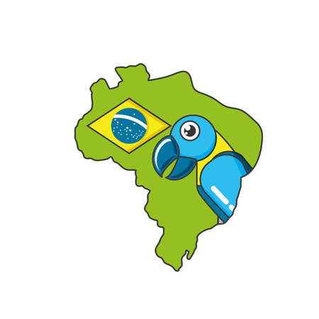 parrot bird animal with map of brazil vector illustration design Çizim