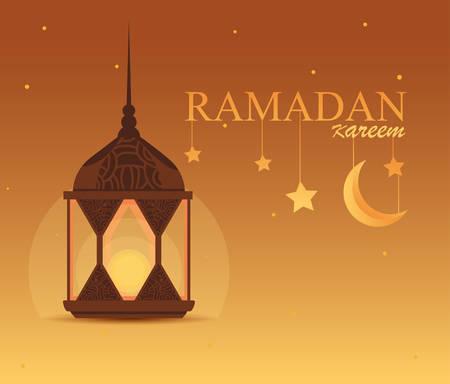 ramadan kareem lamp hanging traditional vector illustration design Stock Illustratie