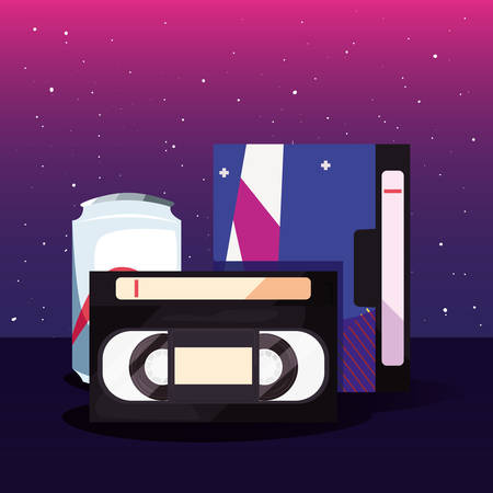 accessories and things retro 80s style videotape cassette soda vector illustration 向量圖像