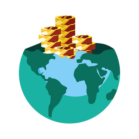 world business coins stacked on white background vector illustration