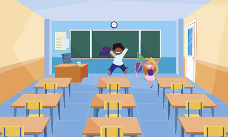 happy little interracial school kids in the classroom vector illustration design Illustration
