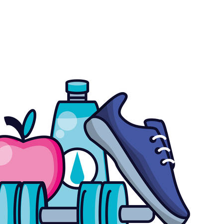 sport shoe with dumbbell and foods healthy vector illustration design