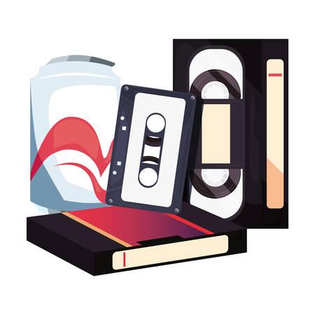 videotape beta music cassette soda retro 80s style vector illustration