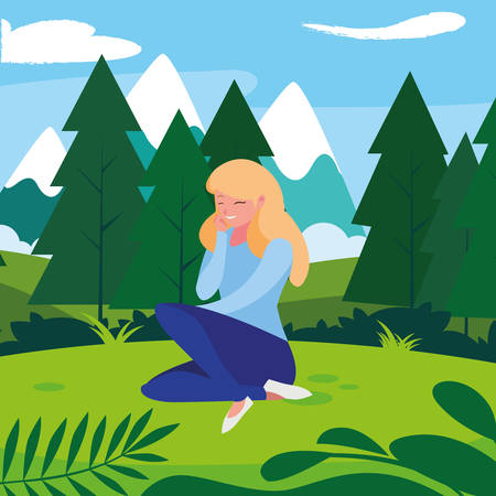 beautiful woman seated in the camp vector illustration design Ilustração