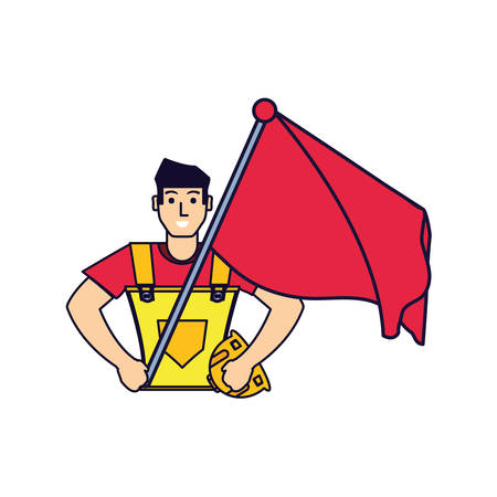 worker construction man with flag vector illustration design Vectores