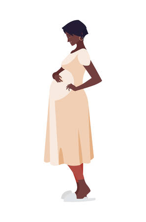 beautiful afro pregnancy woman character vector illustration design Illustration