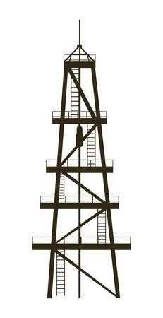 oil industry excavation tower vector illustration design