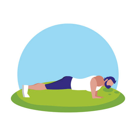 strong athletic man doing push-ups in the camp vector illustration design