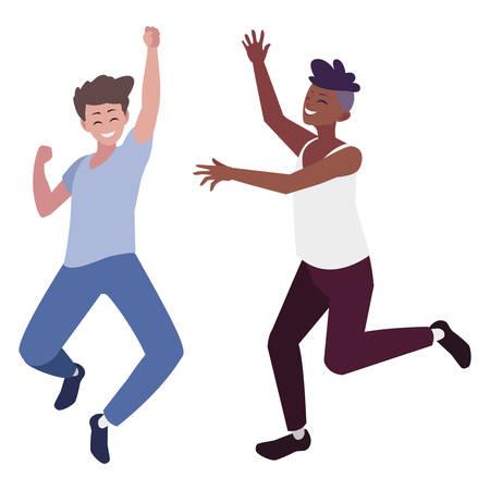interracial young men celebrating characters vector illustration design