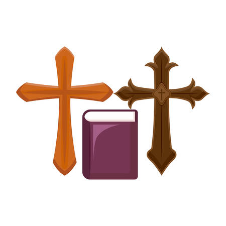 crosses catholics with bible holy vector illustration design