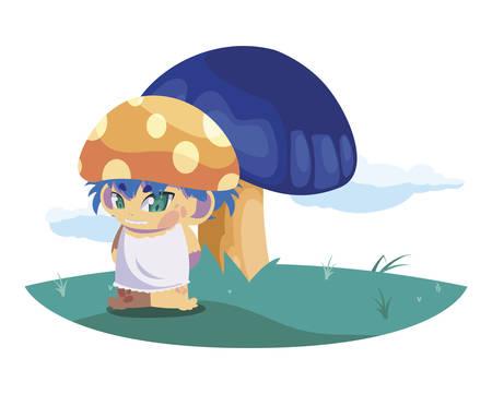 fungu elf in garden magic character vector illustration design Illustration