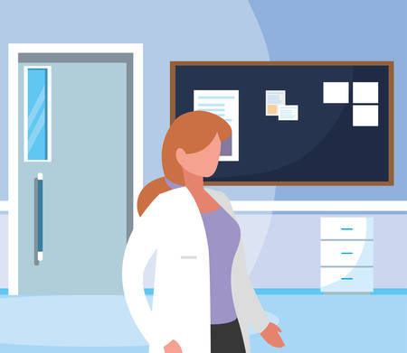 female medicine worker in hospital corridor vector illustration design Stock Illustratie