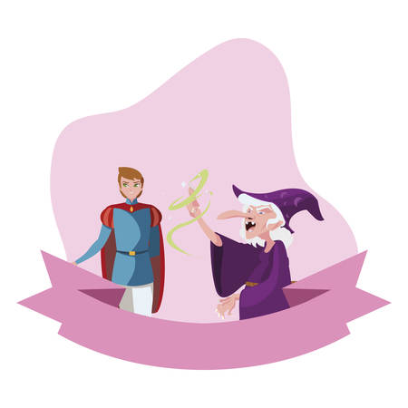 prince charming and witch of tales character vector illustration design Illustration