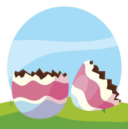 happy easter egg painted break in the camp vector illustration design Stock Illustratie