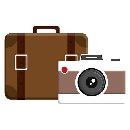 Maleta de viaje con cámara fotográfica, diseño de ilustraciones vectoriales