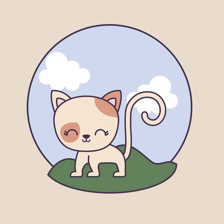 cute cat animal in frame circular with landscape vector illustration design  イラスト・ベクター素材