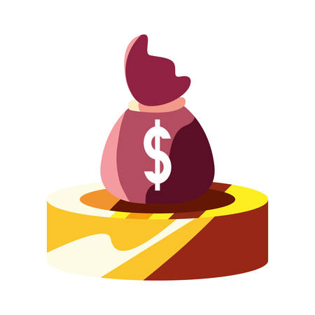 coin money bag financial economy vector illustration Vectores