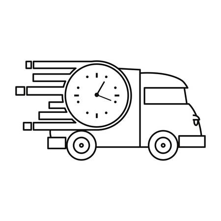 fast delivery truck transport clock vector illustration 일러스트