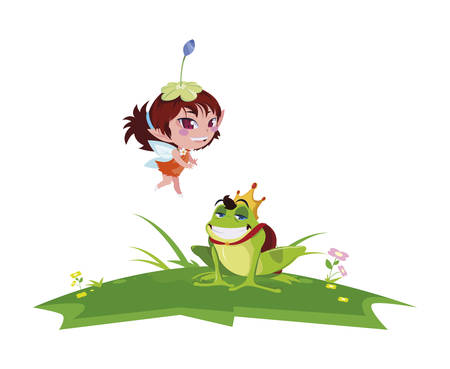 beautiful magic fairy with toad prince in the garden vector illustration design 向量圖像