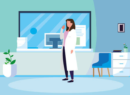 female medicine worker in clinic reception vector illustration design Stock Illustratie
