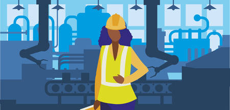 lavoratrice nera nel design dell'illustrazione di vettore del posto di lavoro della fabbrica Vettoriali