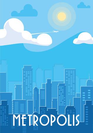 metropolis cityscape buildings scene vector illustration design Vektorové ilustrace